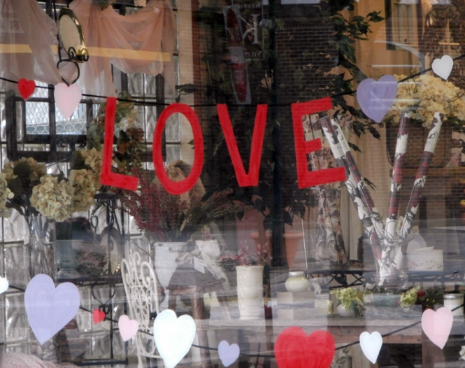Store window full of love.